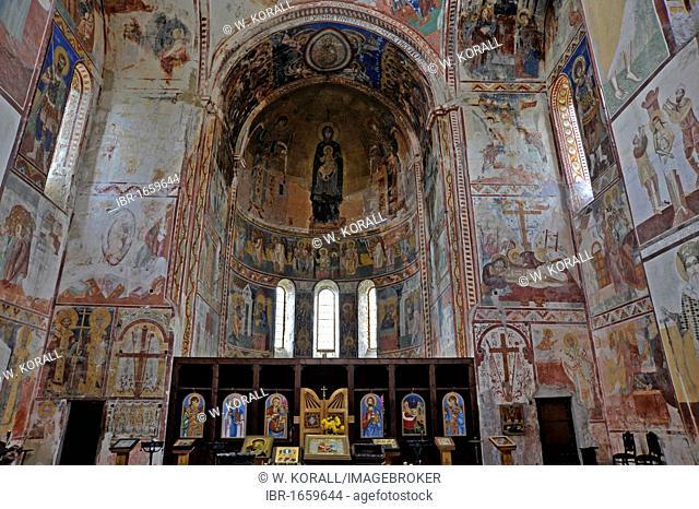 Frescoes of the Virgin Mary in the apse, Church of the Virgin, Gelati Monastery, a UNESCO World Heritage Site, Kutaisi, Imereti, Georgia, Western Asia