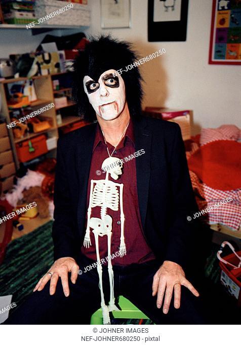 Man dressed up for Halloween, Sweden
