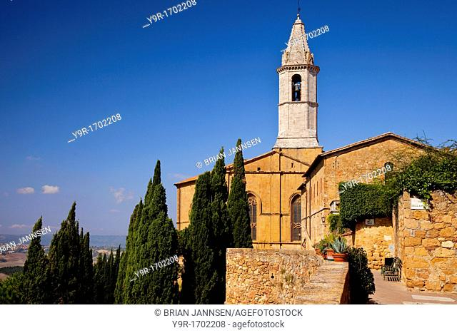 Early morning below Cathedral Pio in Pienza Tuscany Italy