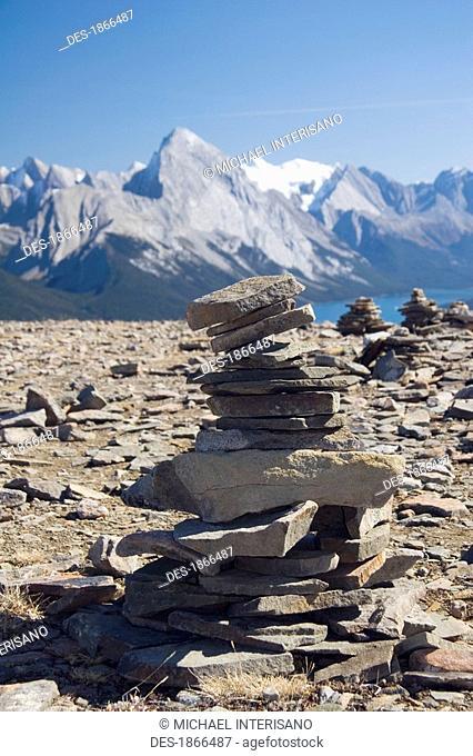 Cairn and mountain, Jasper National Park, Alberta, Canada
