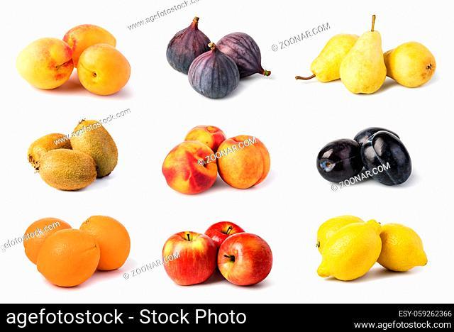 fruit set isolated on white background