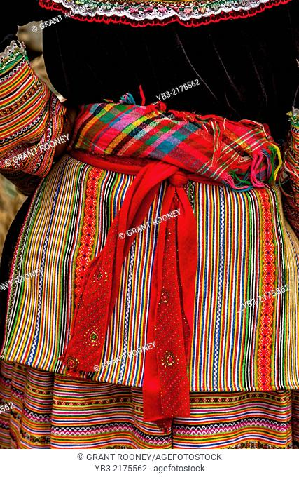 Close Up Photograph Of A Flower Hmong Woman's Dress, Market Day In Bac Ha, Lao Cai Province, Vietnam