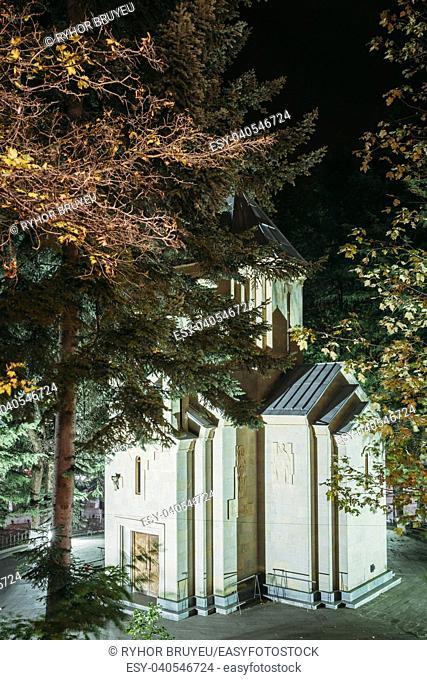 Borjomi, Samtskhe-Javakheti, Georgia. Church Of Saint Nicholas In City Park Merab Kostava's Garden At Evening In Night Illuminations Lights
