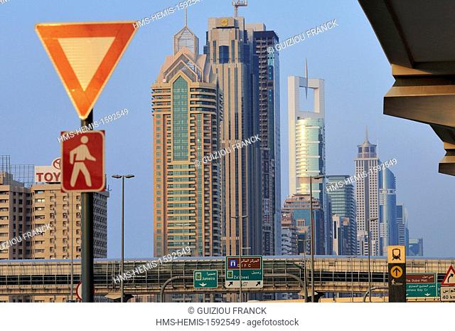 United Arab Emirates, Dubai, the area of Sheikh Zayed Road, the main road of Dubai lined with skyscrapers