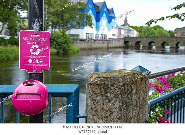 Recycle your gum collection container Footbridge over the Garavogue River in Sligo, Ireland