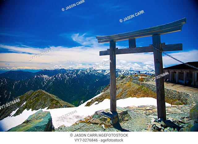 Oyama Shrine in Tateyama mountains, Japan. Oyama Shrine is the highest located shrine in Japan