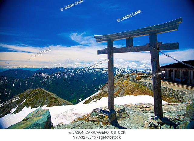 Oyama Shrine in Tateyama mountains, Japan. Oyama Shrine is the highest located shrine in Japan