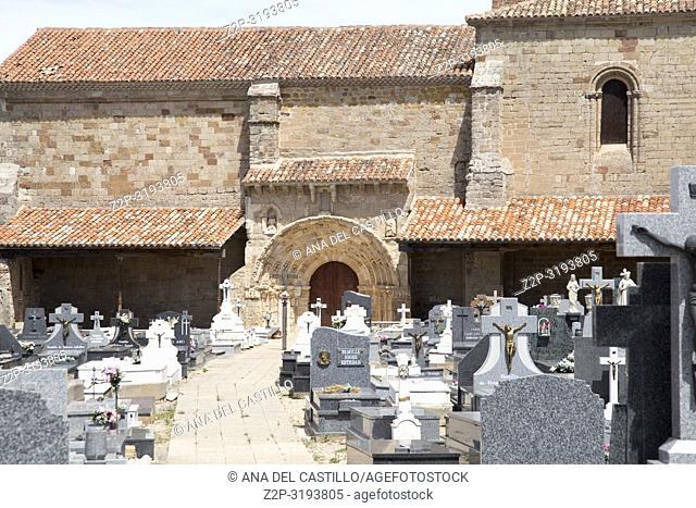 Santa Maria del Rey church and cemetery Atienza village in Guadalajara, province, Castilla-La Mancha, Spain
