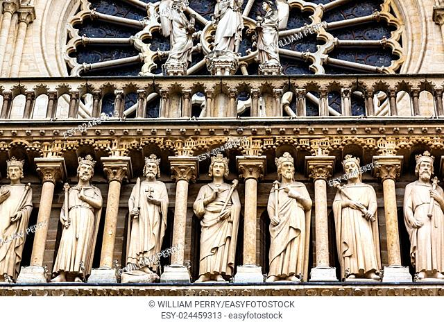 Kings Facade Rose Window Notre Dame Cathedral Paris France. Notre Dame was built between 1163 and 1250AD