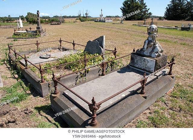 Victorian-era pioneer graves at the Greenmount Cemetery near Yarram in the dairy farming district of South Gippsland, Victoria, Australia