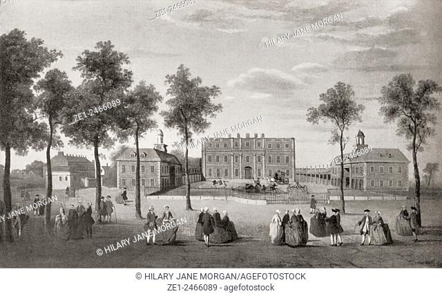 Buckingham House in about 1750. From Buckingham Palace, Its Furniture, Decoration and History, published 1931