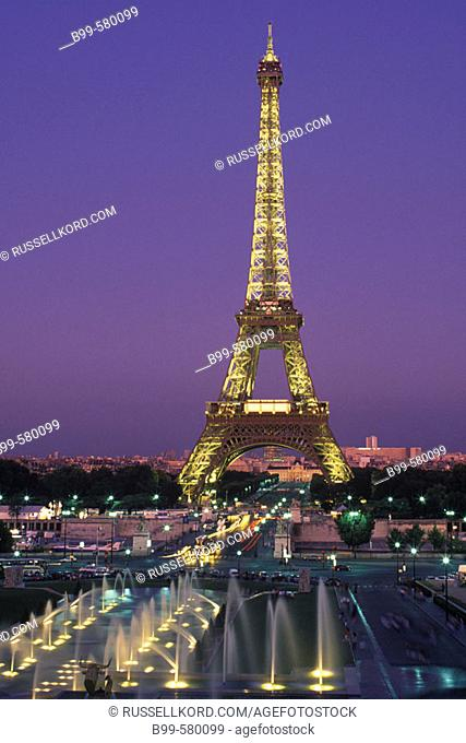 Fountains, Trocadero, Eiffel Tower, Paris, France