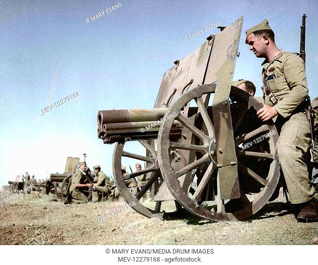 Spanish Civil War Activists - Francoist artillery positions during the early stages of the war, West of Madrid, November 1936