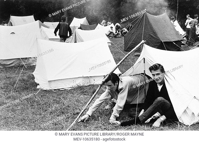 People camping in a field at the Beaulieu Jazz Festival, Hampshire