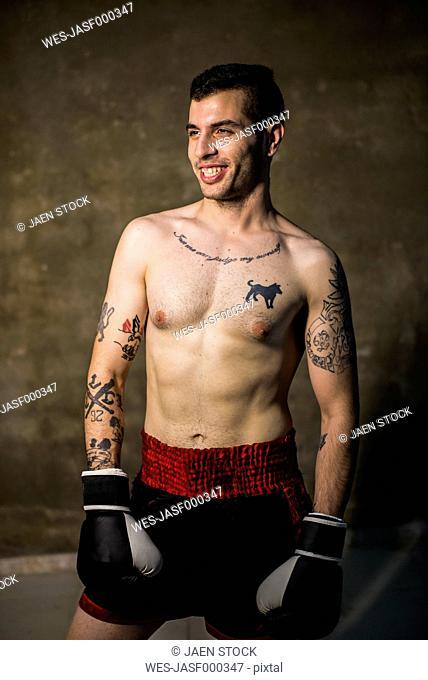 Muay thai fighter smiling