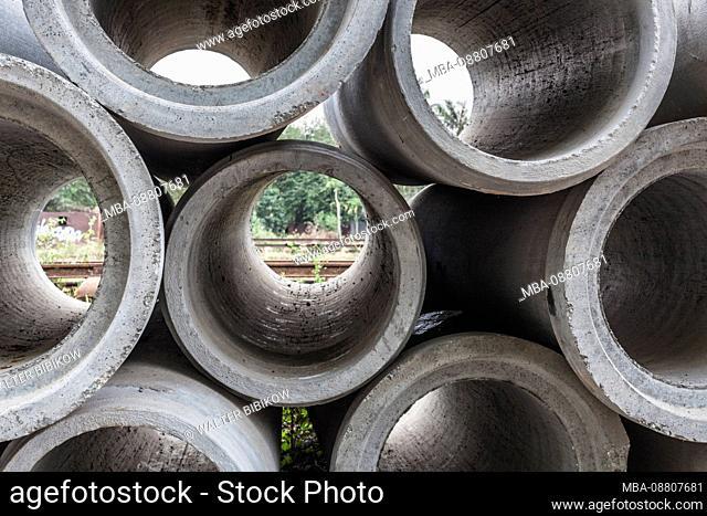 Cambodia, Battambang, Battambang Train Station, concrete pipe