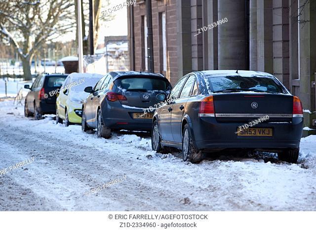 Winter parking Montrose Scotland UK