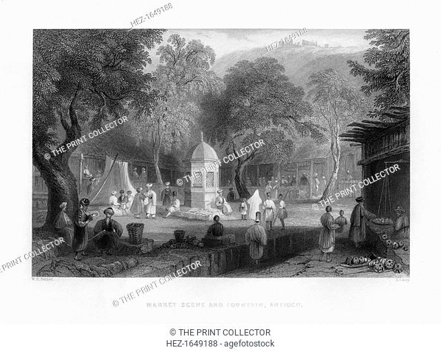 A market scene and a fountain in Antioch, Turkey, 1841. From Syria, the Holy land and Asia Minor, volume III, by John Carne, published by Fisher, Son & Co