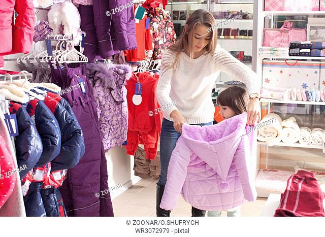 Shopping at outerwear supermarket