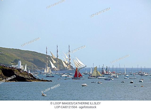 The Dar Mlodziezy leaving Falmouth harbour during the parade of sail prior to the 2014 Tall Ships race