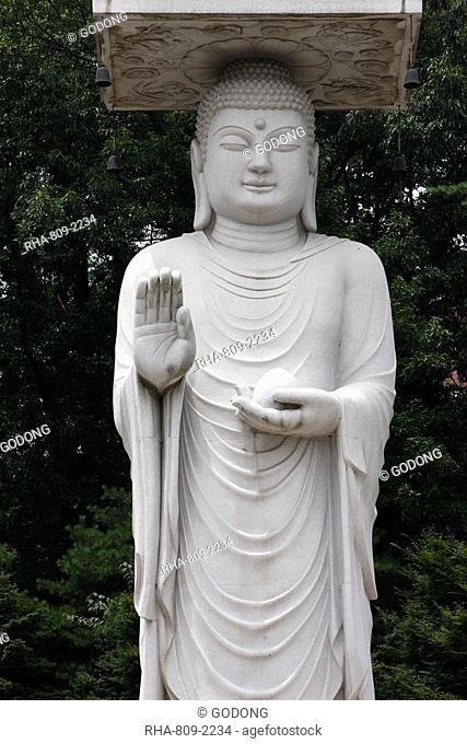 Statue of Maitreya, Buddha of the Future, Bongeunsa temple, Seoul, South Korea, Asia