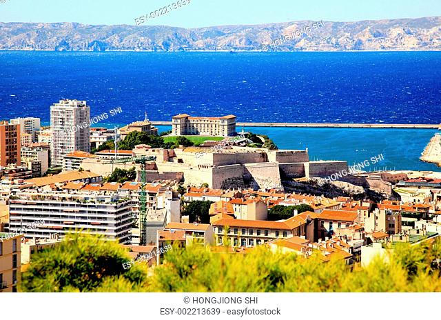 Aerial view of a palace in Marseille City