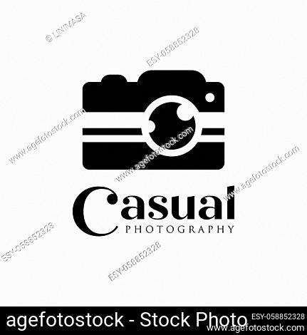 casual camera photography logo icon vector template