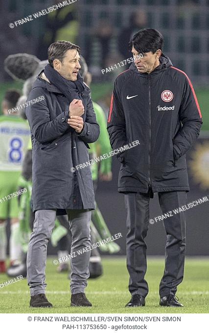 coach Niko KOVAC (F, l.) after the end of the match on the pitch (conversation), Dialogue, with sporting director Bruno HUEBNER (F, Hubner); Soccer 1