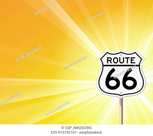 Route 66 Sign and Sunshine
