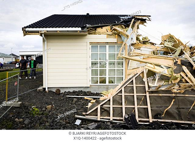 Iceland, Alftanes, Wednesday June 17: The financial crisis in Iceland is taking its toll  The owner of this house in Holmatun