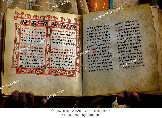 Anceint religious relics withe text in Amharic. Asheton Maryam Monastery. Lalibela. Ethiopia