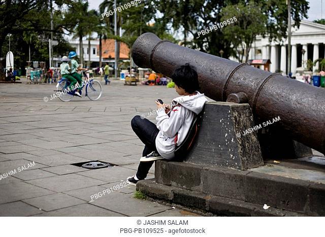 People enjoying at old city Batavia Jakarta, Indonesia October 2010