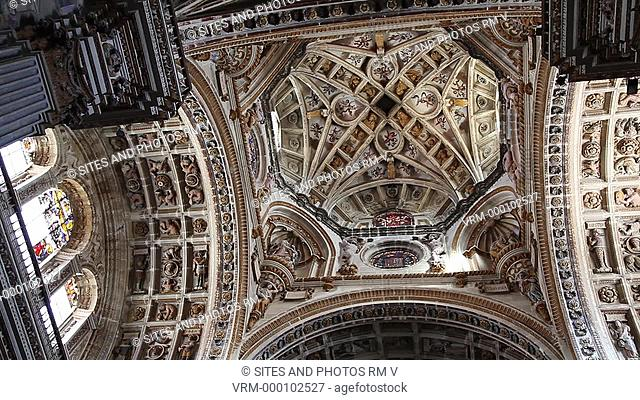 PAN and TILT down, LA, CU, Interior, Renaissance-style rib vaulted and coffered ceiling. The monastery was founded by the Catholic Monarchs in Santa Fe in 1492