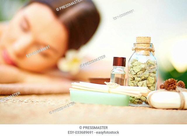 Close-up of objects for aromatic oil massage