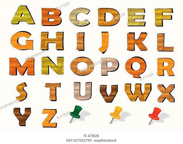 wood vector English alphabet