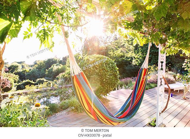 Multicolor hammock hanging from trees in tranquil sunny summer garden