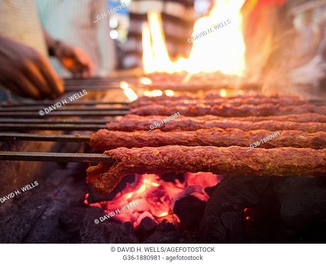 Kebab making in Bangalore, India