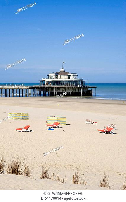 Pier and beach, Blankenberge, North Sea Coast, Belgium, Europe