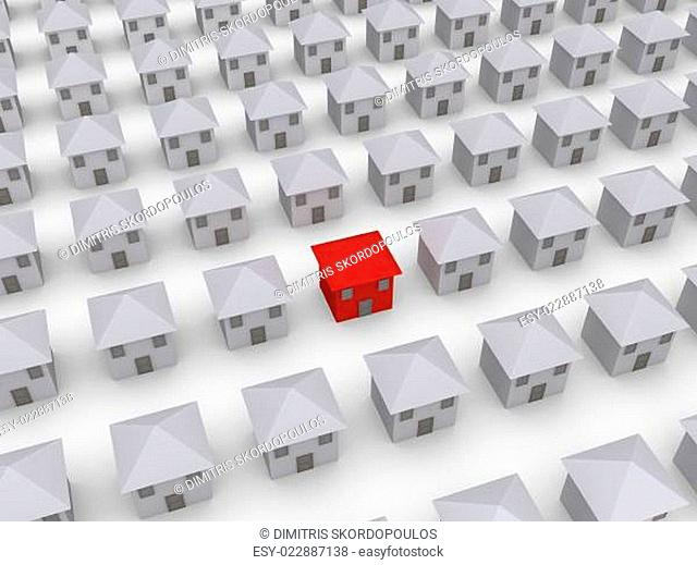 Many houses but one is different