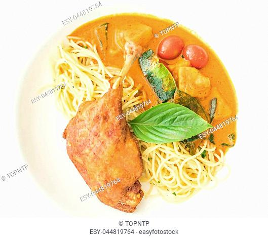spicy penne with fried duck - fushion food