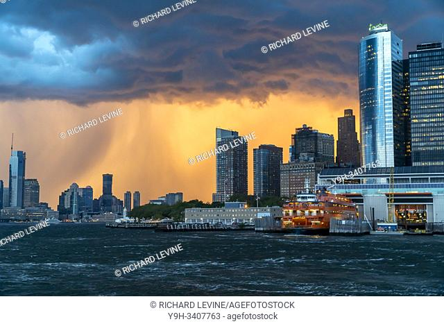 The Staten Island Ferry docks at the Battery Terminal on Thursday, August 8, 2019 prior to the arrival of a summer storm