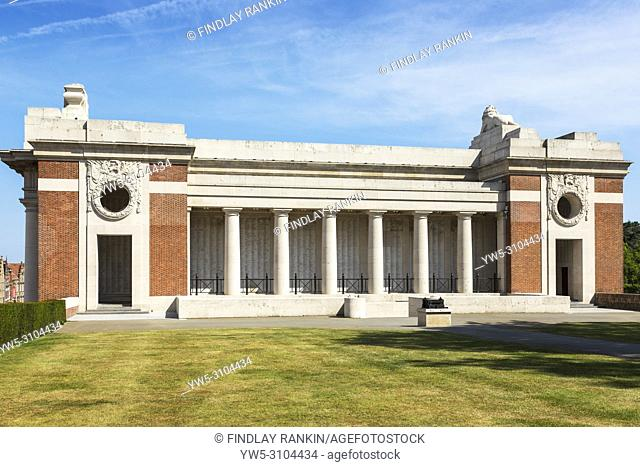 Side aspect of the Menin Gate war memorial, Ypres with the names of the war dead who have never been found written on the walls, Belgium