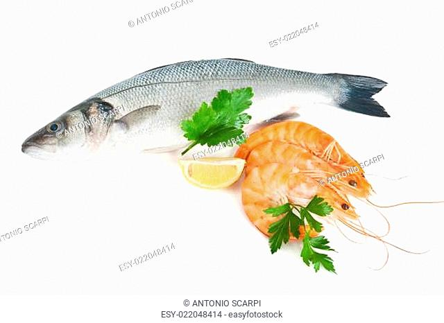 sea bass with prawns and parsley