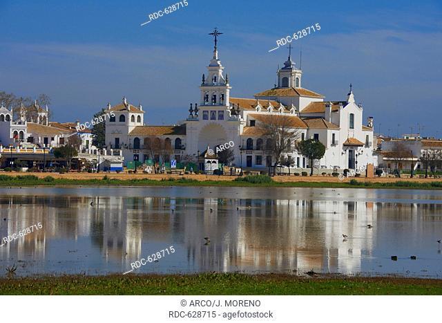 El Rocio village and Hermitage, Almonte El Rocio, El Rocio Marismas de Donana, Donana National Park, Huelva province, Andalusia Spain