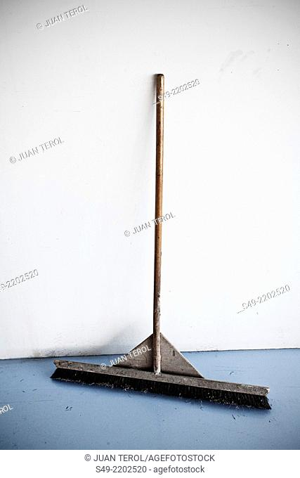 Sweeping broom on white background.Sweeping brush