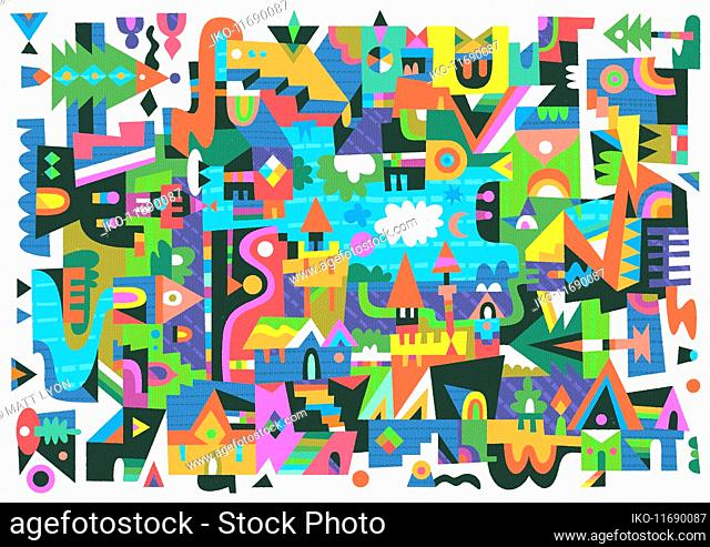 Abstract geometric townscape pattern