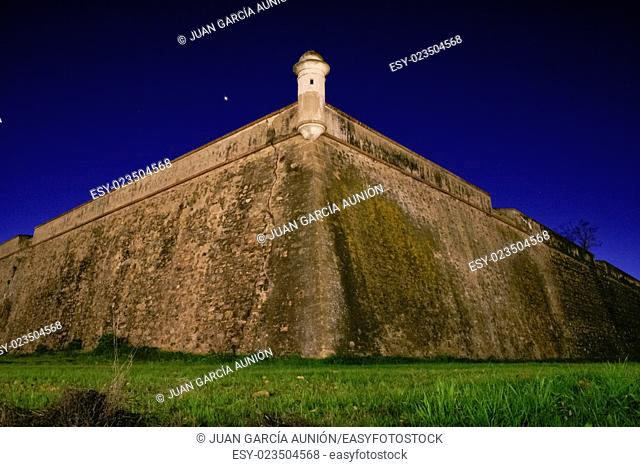 Stronghold bastion belong to XVII Century sorrounding wall of Olivenza, Badajoz, Spain