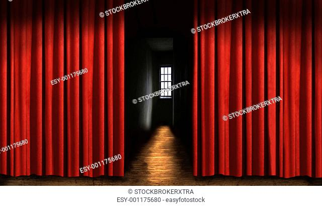 Red theater curtain with window and dark shadows