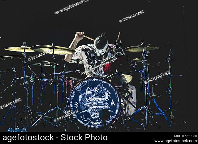Italian drummer Richard Meiz of lacuna Coil during the concert Black Anima: Live From The Apocalypse, an exclusive event streamed all over the world through the...