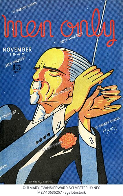 Cover design, Men Only, depicting Sir Thomas Beecham (1879-1961), English conductor and impresario. Seen here conducting